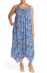 Plus Size Women's Lucky Brand Indigo Floral Handkerchief Hem Maxi Dress