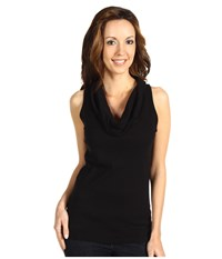Three Dots Cotton Knits Sleeveless Rolled Cowl Neck Black Women's T Shirt