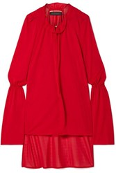 Roland Mouret Otto Asymmetric Herringbone Jersey Blouse Red