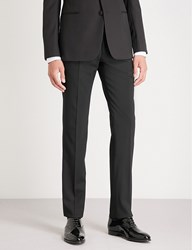 Emporio Armani Regular Fit Straight Stretch Wool Tuxedo Trousers Black