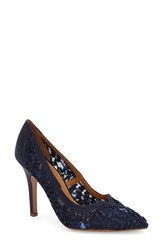 Women's Kay Unger 'Sardana' Satin Ribbon Lace Pointy Toe Pump Navy Ribbon Lace Satin