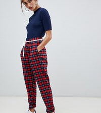 Daisy Street Peg Trousers In Check Red Tartan