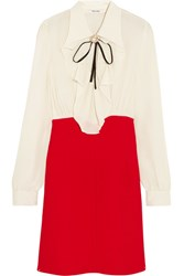 Miu Miu Ruffled Silk Crepe De Chine Mini Dress Red