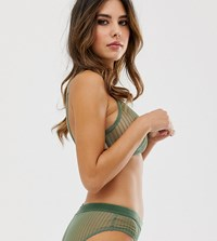 Weekday Sheer Stripe Cut Out Triangle Bra In Sage Green