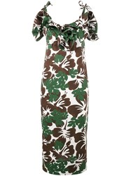 Rosie Assoulin Blooming Onion Tropical Print Dress Brown