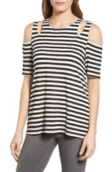 Gibson Women's Cold Shoulder Top Black White Stripe