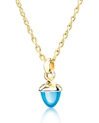 Tamara Comolli Mikado Bouquet Swiss Blue Topaz Pendant Enhancer In Yellow Gold