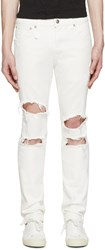 R 13 White Shredded Skate Jeans