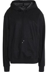 Theory Pinstriped Wool And Cotton Blend Hooded Sweatshirt Black