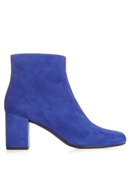 Saint Laurent Babies Block Heel Suede Ankle Boots Blue