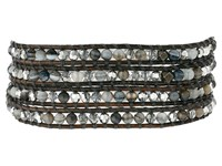Chan Luu 32' Grey Banded Agate Mix Crystal Wrap Bracelet Grey Banded Agate Mix Bracelet Red