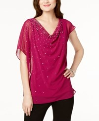 Msk Beaded And Draped Asymmetrical Top Fuschia