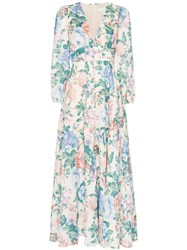 Zimmermann Verity Plunge Floral Print Dress Multicolour