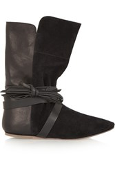 Isabel Marant Nira Suede And Leather Ankle Boots Black
