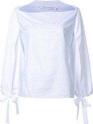 Christopher Esber 'Horizontal Neck Open Slit Tie' Top White