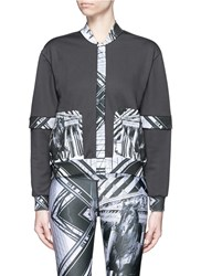 We Are Handsome 'The Siege' Scenic Print Panelled Track Jacket Black Multi Colour