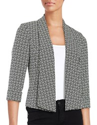 Nipon Boutique Geo Print Shawl Blazer Black White