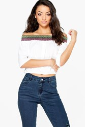 Boohoo Mabelle Off The Shoulder Woven Trim Top Cream