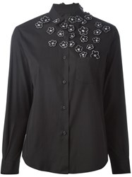 Jimi Roos Embroidered Flower Applique Shirt Black