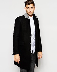 Asos Wool Overcoat In Black