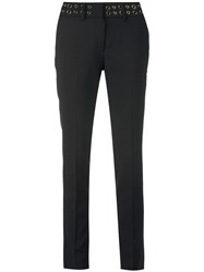 Philipp Plein Naomi Trousers Women Cotton Polyester Spandex Elastane L Black