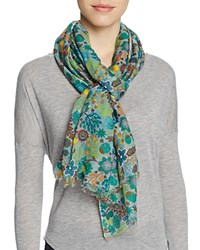 Altea Embroidered Floral Print Scarf Green Multi