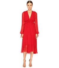 Prabal Gurung Long Sleeve Chiffon Flounce Dress Crimson Women's Dress Red