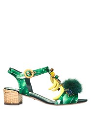 Dolce And Gabbana Banana Leaf Print Embellished Sandals Green White