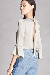 Forever 21 Satin Tie Back Crop Top Seafoam