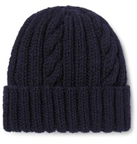 Connolly Cable Knit Wool Beanie Navy