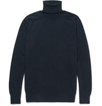 Ami Alexandre Mattiussi Wool And Cashmere Blend Rollneck Sweater Navy