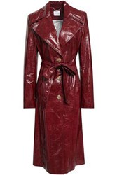 Magda Butrym Leather Trench Coat Claret