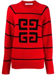 Givenchy Contrast Logo Jumper Red