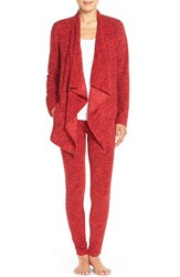 Women's Dkny Drape Front Stretch Fleece Cardigan And Leggings Cardinal