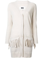 Maison Martin Margiela Mm6 Fringed Pocket Cardigan Brown