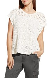 Vince Camuto Open Stitch Knit Top White