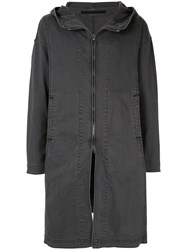 Julius Long Zip Hooded Coat Black