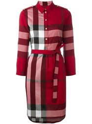 Burberry House Check Shirt Dress Red