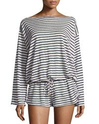 Vitamin A Solana Striped Linen Romper Coverup Black White