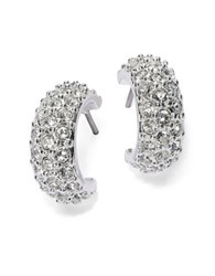 Lauren Ralph Lauren Small Pave Cuff Hoop Earrings 0.5 In. Silver