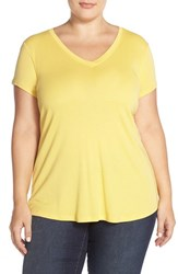 Plus Size Women's Sejour Short Sleeve V Neck Tee Yellow Mimosa