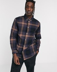 Weekday Seattle Checked Shirt In Navy