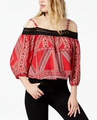 Amy Byer Bcx Juniors' Printed Cold Shoulder Top Red