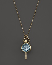 Monica Rich Kosann 18K Yellow Gold Mini Round Pocketwatch Key Charm Necklace With Blue Topaz And Moonstone 18 Gold Blue
