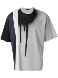 Diesel Black Gold Teoria Stripespray T Shirt Cotton Polyester Artificial Leather Grey