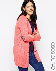 Asos Curve Cardigan With Navy Heart Elbow Patch Brightred