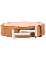 Tod's Double T Belt Calf Leather Brown