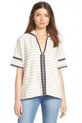 Madewell 'Elise' Embroidered Hooded Tunic Gray