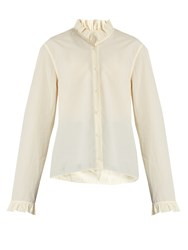 Christophe Lemaire Ruffled Long Sleeved Cotton Shirt Ivory