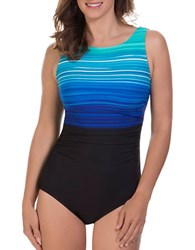 Reebok Desert Rays Striped One Piece Swimsuit Blue